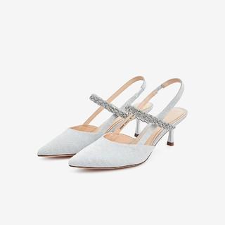 Tata 他她 2021夏专柜同款亮片布面后空凉鞋细跟尖头女鞋新
