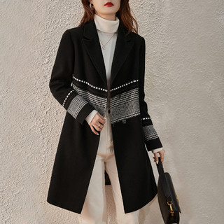 MSAY 2021冬季新款英伦风宽松休闲撞色女式大衣西装领时尚外套