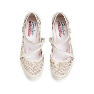 SKECHERS 斯凯奇 Skechers斯凯奇女士复古玛丽珍休闲鞋蕾丝图案单鞋100022 自然色 39
