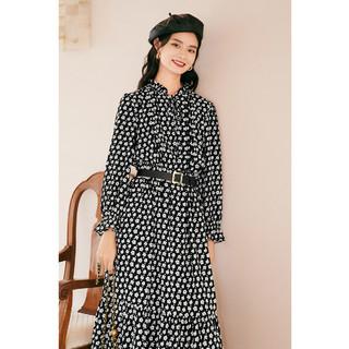 eifini 伊芙丽 2021冬季新款圆领长袖韩版连衣裙中长款裙子女