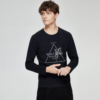 SEPTWOLVES 七匹狼 秋季新品男士时尚休闲圆领套头印花长袖T恤男