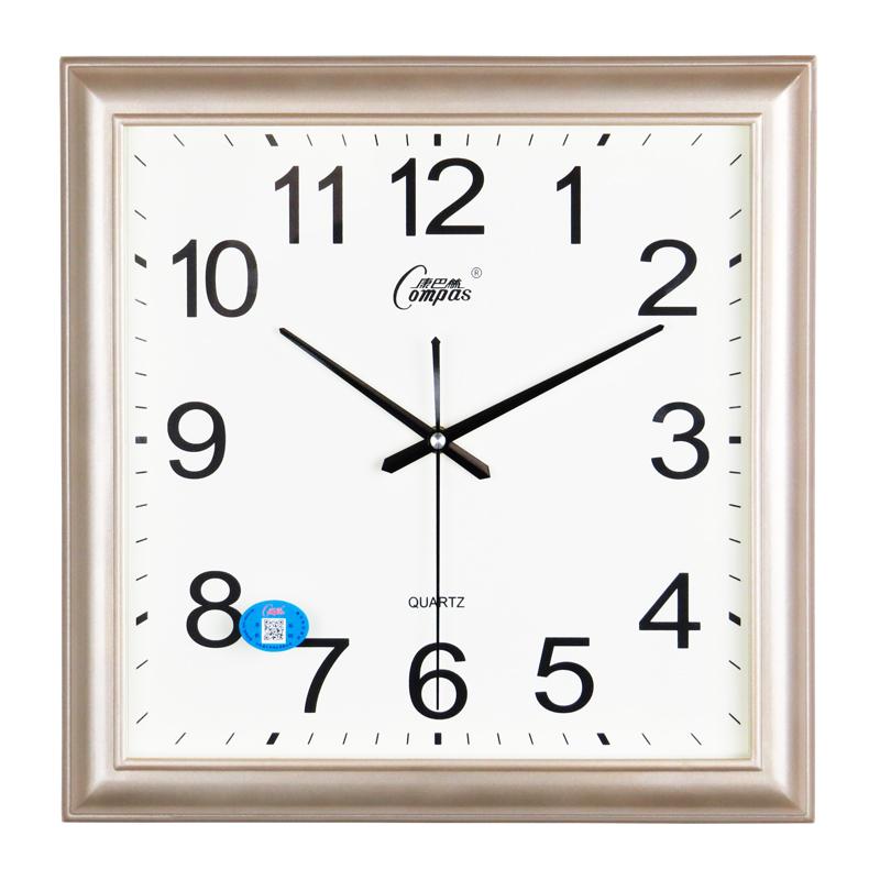 康巴丝挂钟客厅万年历表现代时钟简约方形石英钟创意卧室静音挂表 10英寸(直径25.5厘米) 闪银(27*27.5CM)