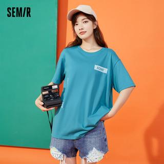 Semir 森马 短袖T恤女2021年夏季新款ins设计感字母oversize简约衣服女生