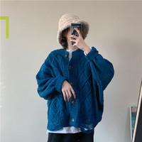 TONLION 唐狮 2021秋装外套女新款韩版绞花圆领纯色复古开衫时尚百搭上衣潮