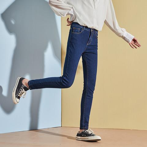 TONLION 唐狮 秋季新款高腰牛仔裤女显瘦紧身弹力小脚裤女薄修身铅笔裤