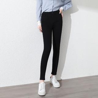 HLA 海澜之家 弹力牛仔裤女2021秋季韩版新款高腰显瘦显高休闲铅笔小脚裤