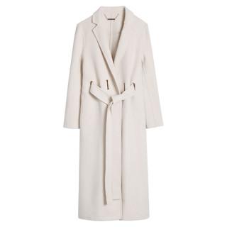 LILY 丽丽 气质双面呢羊毛大衣系带修身长款毛呢外套