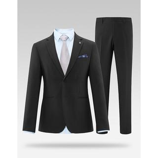 HLA 海澜之家 礼服套装男2021秋季新品精致胸针纯色套西HTXAD3D023A 黑色23 180/96A