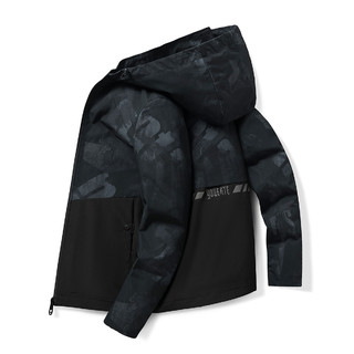 ROMON 罗蒙 新款时尚印花迷彩连帽夹克外套男商务休闲男士夹克