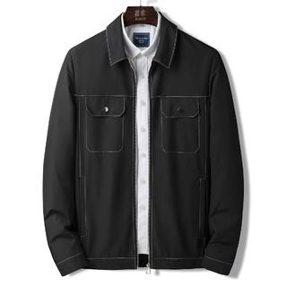 ROMON 罗蒙 明线款工装外套秋季新品纯色翻领弹力通勤男士夹克