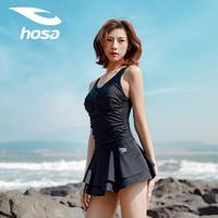 hosa 浩沙 泳衣女连体裙式平角游泳衣保守遮肚显瘦大码度假温泉泳装 黑色 XL