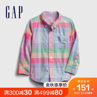 Gap 盖璞 男幼童活力纯棉格纹长袖衬衫681447秋季新款童装贴袋上衣