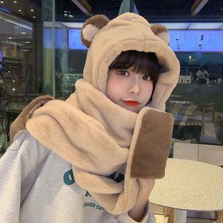 小熊帽子韩版可爱女百搭秋冬季冬天围巾一体骑车保暖手套三件套潮