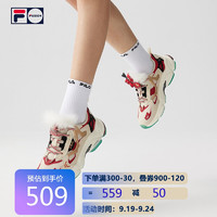 FILA 斐乐 FUSION RJV跑步鞋2021春季女ins新年限定版复古男老爹鞋情侣 米色/深红 36.5