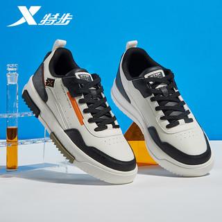 XTEP 特步 男鞋板鞋秋季新款休闲鞋潮流时尚运动鞋学生皮面防水男士鞋子