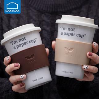 LOCK&LOCK 乐扣乐扣 陶瓷水杯便携情侣马克杯带盖勺创意水杯咖啡杯ins杯子