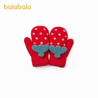 balabala 巴拉巴拉 儿童手套女童洋气冬季新款保暖加绒全指可爱针织草莓造型