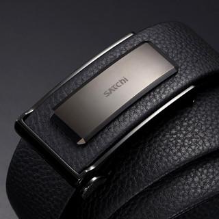 SATCHI 沙驰 男式腰带新品小牛皮商务自动扣质感皮带官方正品