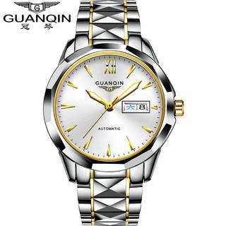 GUANQIN 冠琴 名牌进口机芯手表男士商务钨钢全自动机钨钢间金白面(瑞士品质)