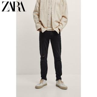 ZARA 秋季新款男装 紧身小脚 破洞装饰黑色牛仔裤 06045440800