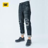 CAT 卡特彼勒 男士破洞牛仔长裤 CI3JEN22141C78