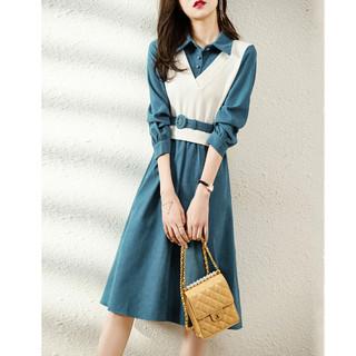 沫晗依美 马夹假两件连衣裙21年新款韩版收腰显瘦夏季时尚气质减龄裙子