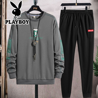 PLAYBOY 花花公子 2021新款套装男秋季休闲卫衣服春装男士两件套99.9 2088灰色 红标裤 XL码