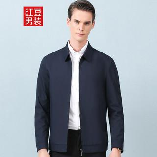 Hodo 红豆 男装 夹克男 商务休闲男士翻领舒适简约纯色短款夹克外套 B5黑藏青 175/92A