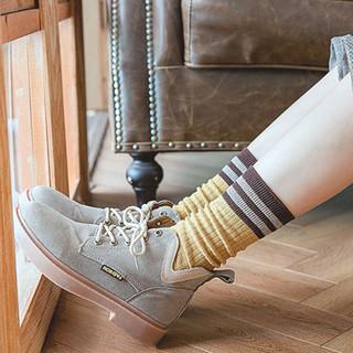 Nan ji ren 南极人 5双装袜子女堆堆袜春秋季日系韩版中筒袜ins潮学生透气长筒袜 7色2杠堆堆袜-随机5双装