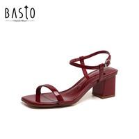 BASTO 百思图 女士粗跟凉鞋 RVE20DBL0
