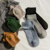 ANNAKAKA 安娜卡卡 彩色坑条柔软舒适短筒袜女春秋夏薄款纯色好搭袜