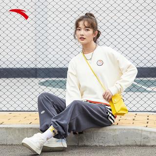 ANTA 安踏 运动卫衣女装2021新款春秋季学生圆领套头宽松潮流长袖上衣女