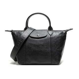 LONGCHAMP 珑骧 奢侈品 女士LE PLIAGE CUIR系列小号黑色羊皮短柄可折叠手提单肩包饺子包 1512 757 001