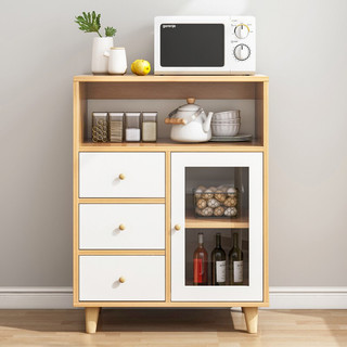 立太餐边柜小尺寸厨房柜子储物柜客厅靠墙家用多功 60*35*90 北欧枫木色+白