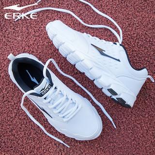 ERKE 鸿星尔克 男鞋运动鞋男秋季新款皮面透气休闲鞋男方白色跑步鞋子男R 正白 41