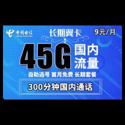 CHINA TELECOM 中国电信 长期翼卡(45G全国流量+300分钟通话)