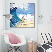 BASISHOME 倍思家 可爱温馨儿童房装饰画卡通壁画 疯狂的渔夫 单幅D款 40x40cm 油画布 黑色画框
