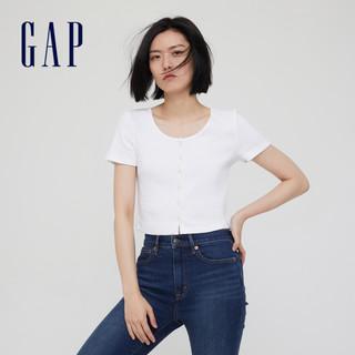 Gap 盖璞 女装复古纯棉U领针织短袖T恤 771051 黑色 S