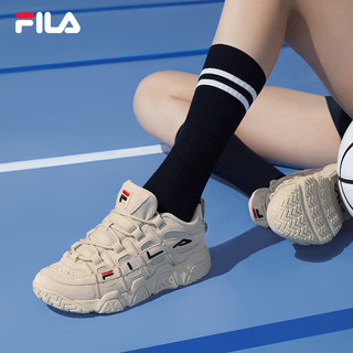 FILA 斐乐 官方篮球鞋女2021秋季休闲鞋复古运动鞋子低帮球鞋面包鞋