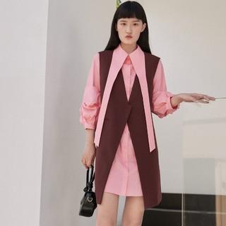 VERO MODA Vero Moda秋冬宫廷风优雅马甲衬衫裙套装