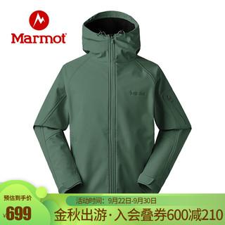 Marmot 土拨鼠 秋冬男M1软壳上衣户外防风保暖耐磨夹克外套 鳄鱼绿4764