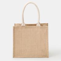 MUJI 無印良品 黄麻 简易收叠购物袋 原色 27*31*16cm