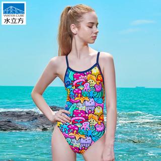 水立方泳衣女专业运动训练比赛竞技保守连体三角遮肚显瘦游泳衣