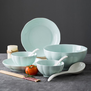 尚行知是 陶瓷碗盘碗筷组合 青南瓜 10件套
