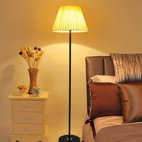 好莱仕落地灯客厅卧室床头过道现代简约创意布艺装饰LED遥控喂奶灯 黑灯杆+按钮开关开关+赠5WLED
