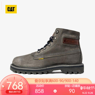 CAT 卡特彼勒 卡特 工装鞋马丁靴男女情侣鞋靴2021新款牛皮高帮户外休闲靴防滑中性高帮鞋子P110412 炭灰色 43
