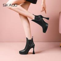 斯佳多气质短靴女春秋单靴尖头粗跟防水台真皮