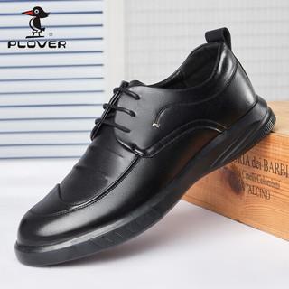 PLOVER 啄木鸟 商务休闲鞋子男士英伦牛皮百搭系带正装鞋低帮舒适皮鞋男 ZMN2114 黑色 40