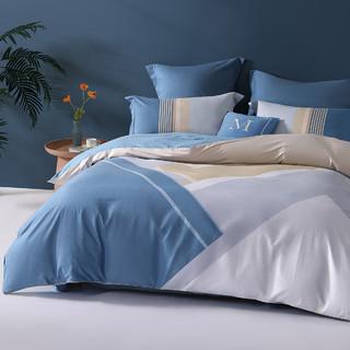 MERCURY 水星家纺 全棉斜纹印花四件套AB双面双色被套床单床上用品单双人宿舍套件