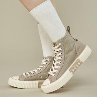 Kappa 卡帕 情侣男女款休闲板鞋高帮帆布鞋男鞋运动鞋女